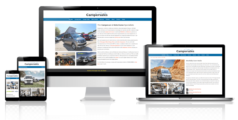 Campersales example showing desktop, laptop, tablet and mobile.