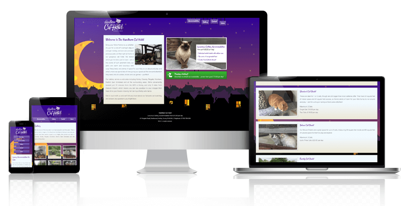 Hawthorn Cat Hotel example showing desktop, laptop, tablet and mobile.